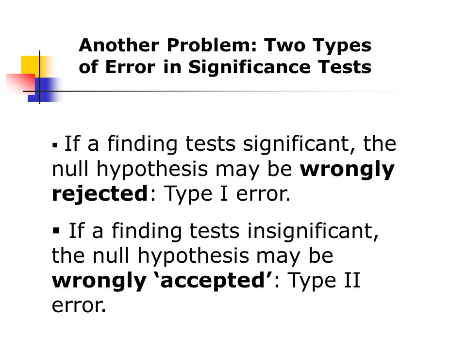  If a finding tests significant, the null hypothesis may be wrongly rejected: Type I error.