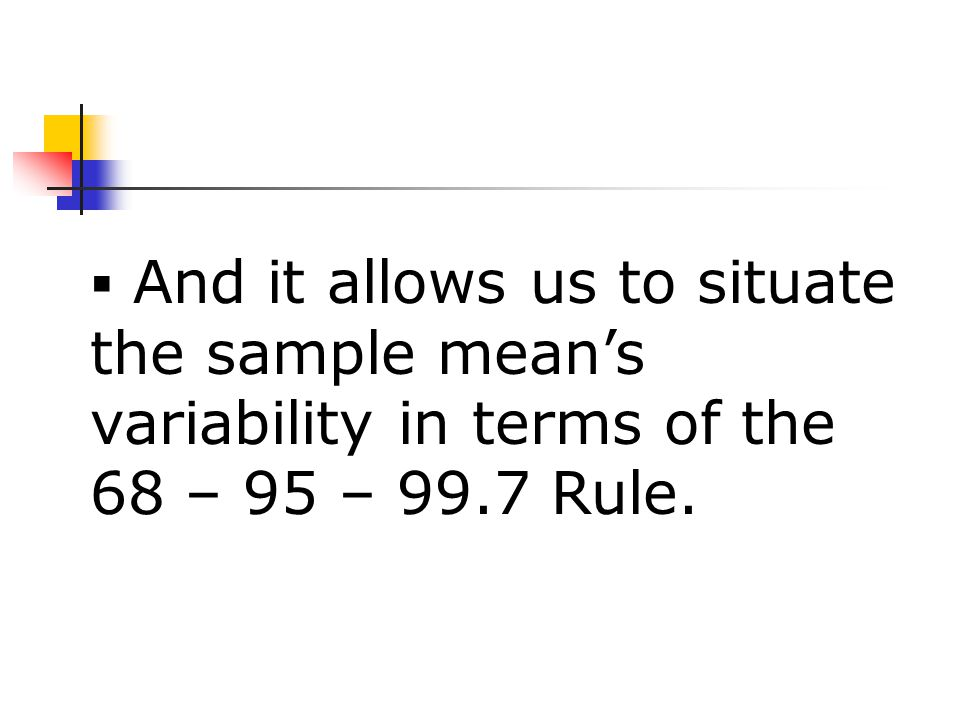  And it allows us to situate the sample mean's variability in terms of the 68 – 95 – 99.7 Rule.
