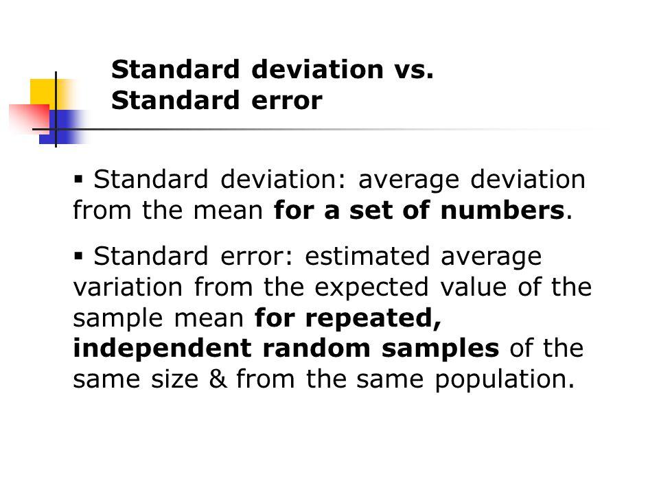 Standard deviation vs.