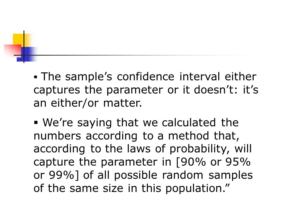  The sample's confidence interval either captures the parameter or it doesn't: it's an either/or matter.