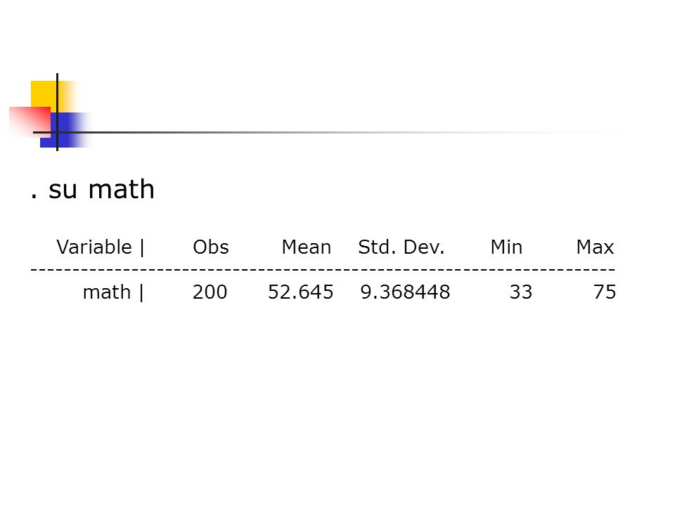 su math Variable | Obs Mean Std. Dev.