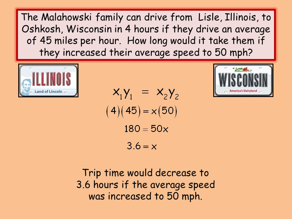 The Malahowski family can drive from Lisle, Illinois, to Oshkosh, Wisconsin in 4 hours if they drive an average of 45 miles per hour. How long would i