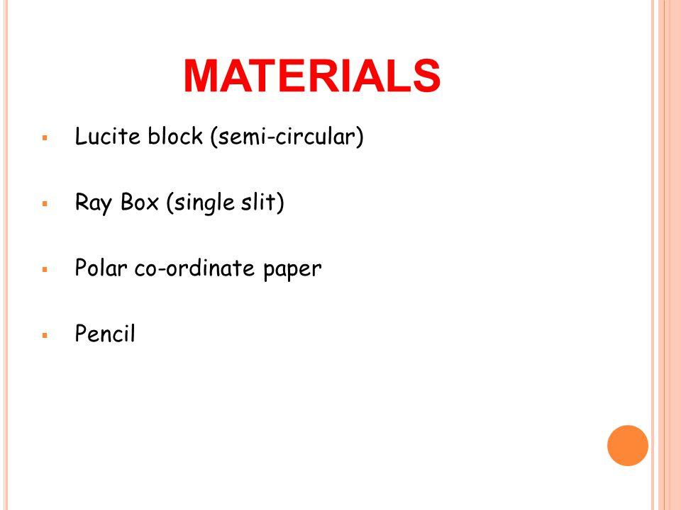 MATERIALS  Lucite block (semi-circular)  Ray Box (single slit)  Polar co-ordinate paper  Pencil