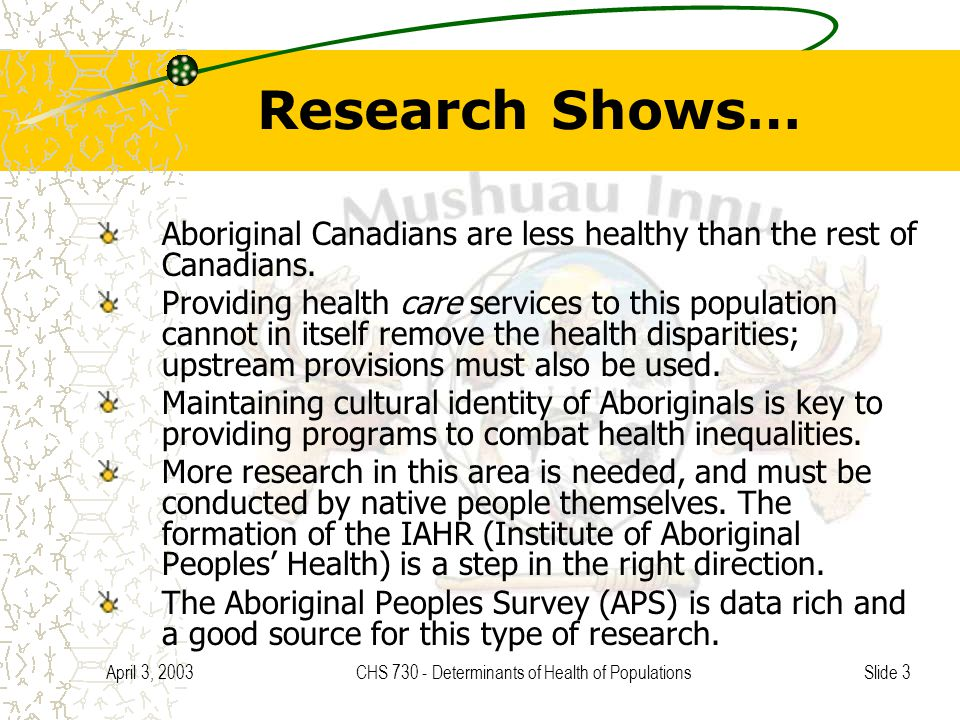 Slide 3 April 3, 2003CHS 730 - Determinants of Health of Populations Research Shows… Aboriginal Canadians are less healthy than the rest of Canadians.