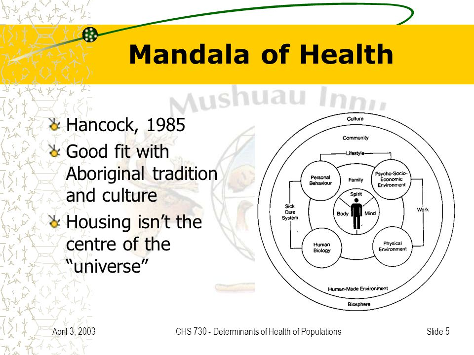 Slide 5 April 3, 2003CHS 730 - Determinants of Health of Populations Mandala of Health Hancock, 1985 Good fit with Aboriginal tradition and culture Housing isn't the centre of the universe