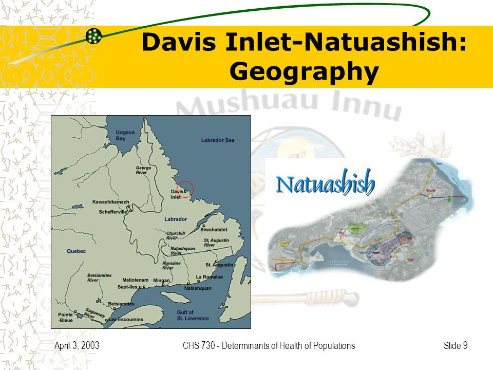 Slide 9 April 3, 2003CHS 730 - Determinants of Health of Populations Davis Inlet-Natuashish: Geography
