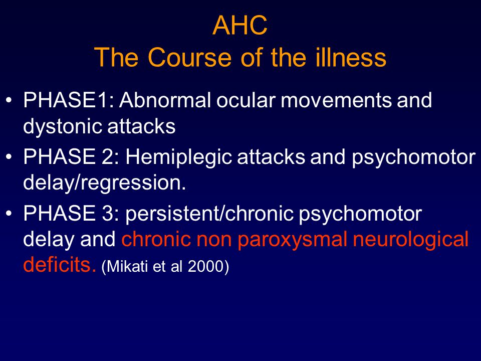 AHC The Course of the illness PHASE1: Abnormal ocular movements and dystonic attacks PHASE 2: Hemiplegic attacks and psychomotor delay/regression. PHA