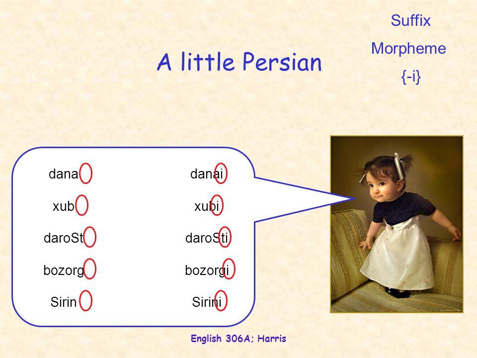 English 306A; Harris A little Persian dana xub daroSt bozorg Sirin danai xubi daroSti bozorgi Sirini Suffix Morpheme {-i}