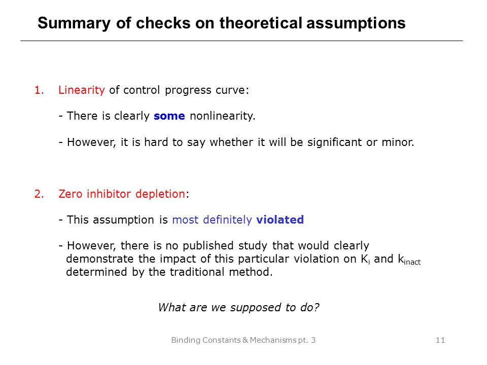 Binding Constants & Mechanisms pt. 311 Summary of checks on theoretical assumptions 1.Linearity of control progress curve: - There is clearly some non