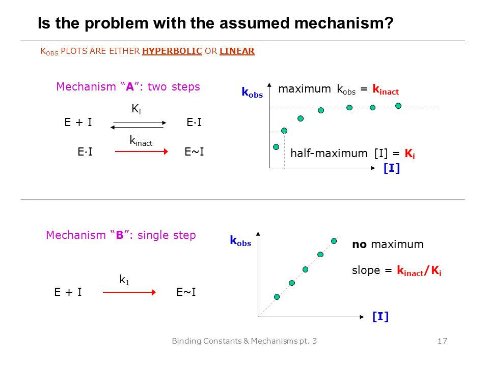 Binding Constants & Mechanisms pt.317 Is the problem with the assumed mechanism.