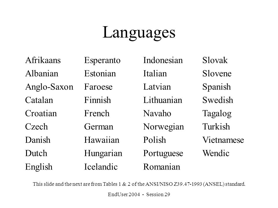 EndUser 2004 - Session 29 Languages Afrikaans Albanian Anglo-Saxon Catalan Croatian Czech Danish Dutch English Esperanto Estonian Faroese Finnish French German Hawaiian Hungarian Icelandic Indonesian Italian Latvian Lithuanian Navaho Norwegian Polish Portuguese Romanian Slovak Slovene Spanish Swedish Tagalog Turkish Vietnamese Wendic This slide and the next are from Tables 1 & 2 of the ANSI/NISO Z39.47-1993 (ANSEL) standard.