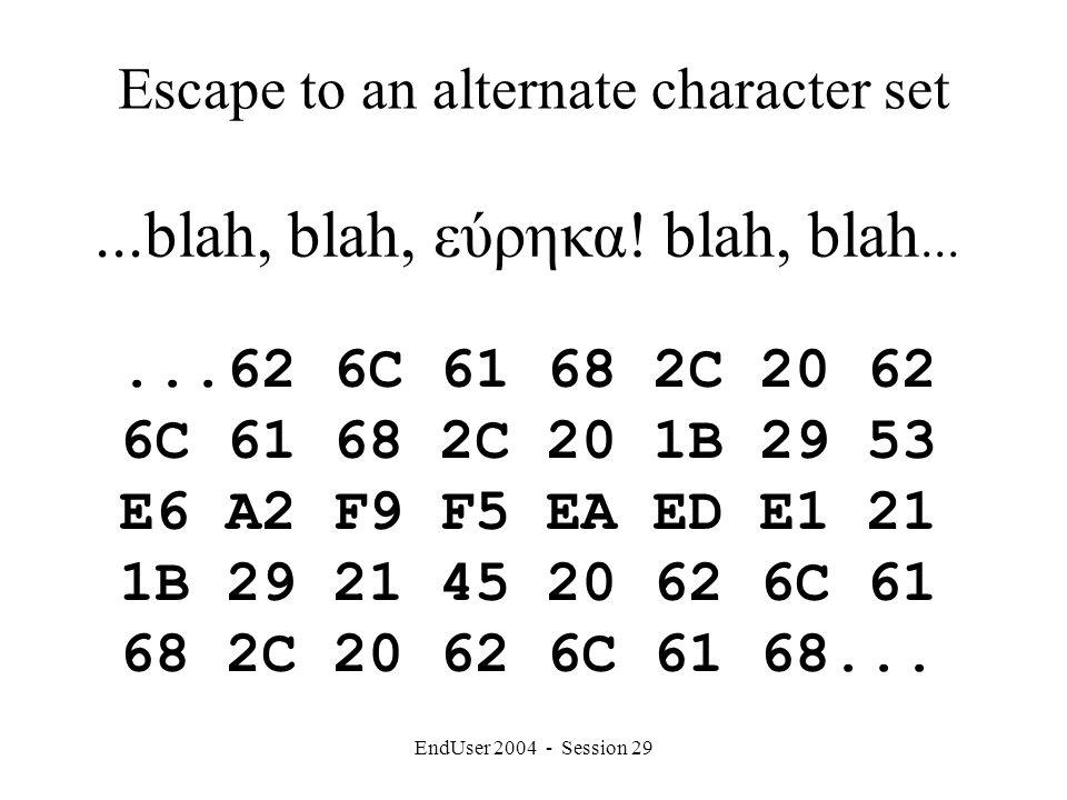 EndUser 2004 - Session 29 Escape to an alternate character set...blah, blah, εύρηκα.