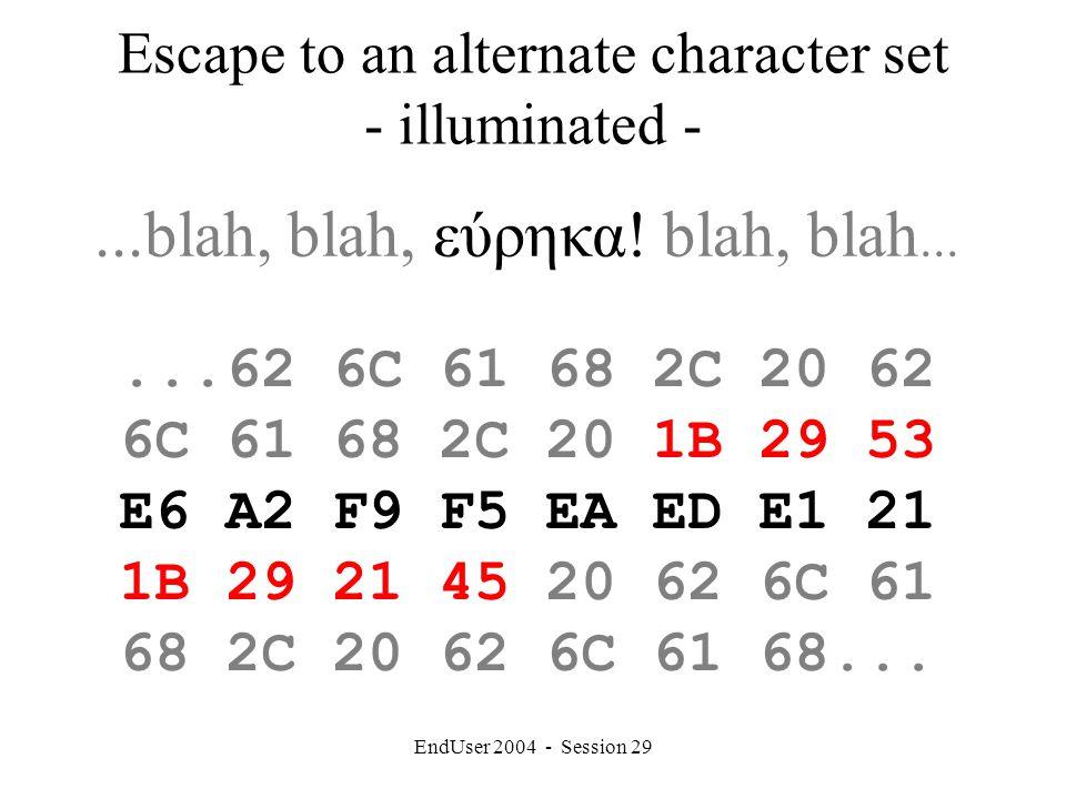 EndUser 2004 - Session 29 Escape to an alternate character set - illuminated -...blah, blah, εύρηκα.