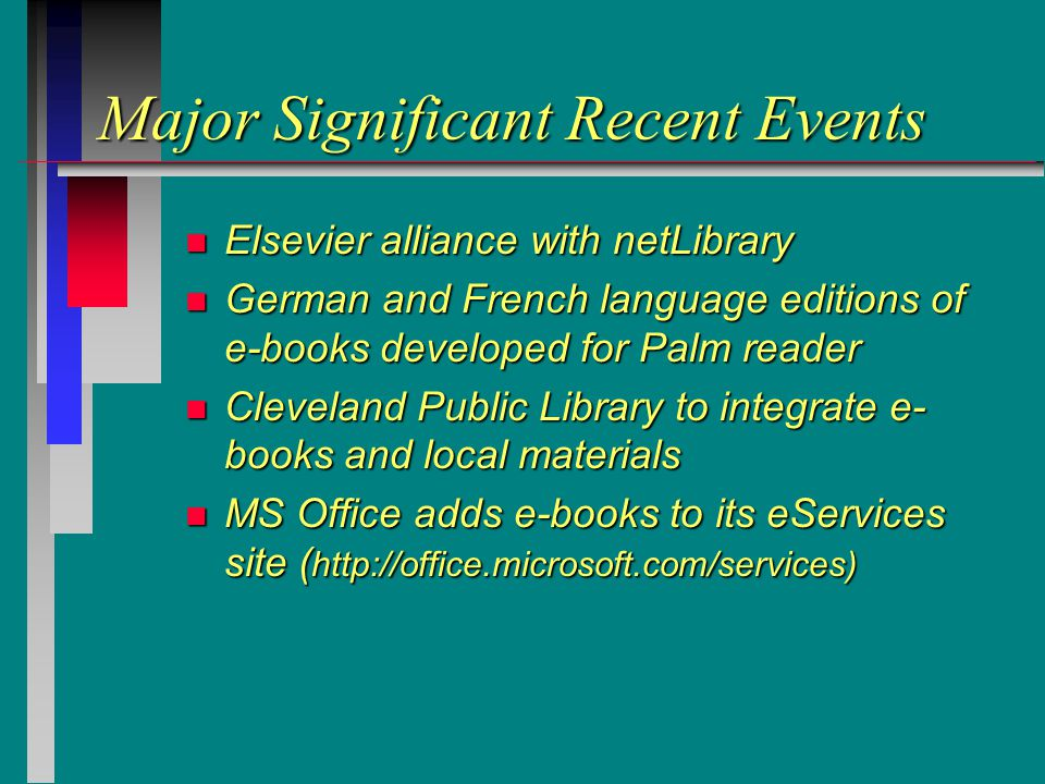 Major Significant Recent Events n Elsevier alliance with netLibrary n German and French language editions of e-books developed for Palm reader n Cleveland Public Library to integrate e- books and local materials n MS Office adds e-books to its eServices site ( http://office.microsoft.com/services)