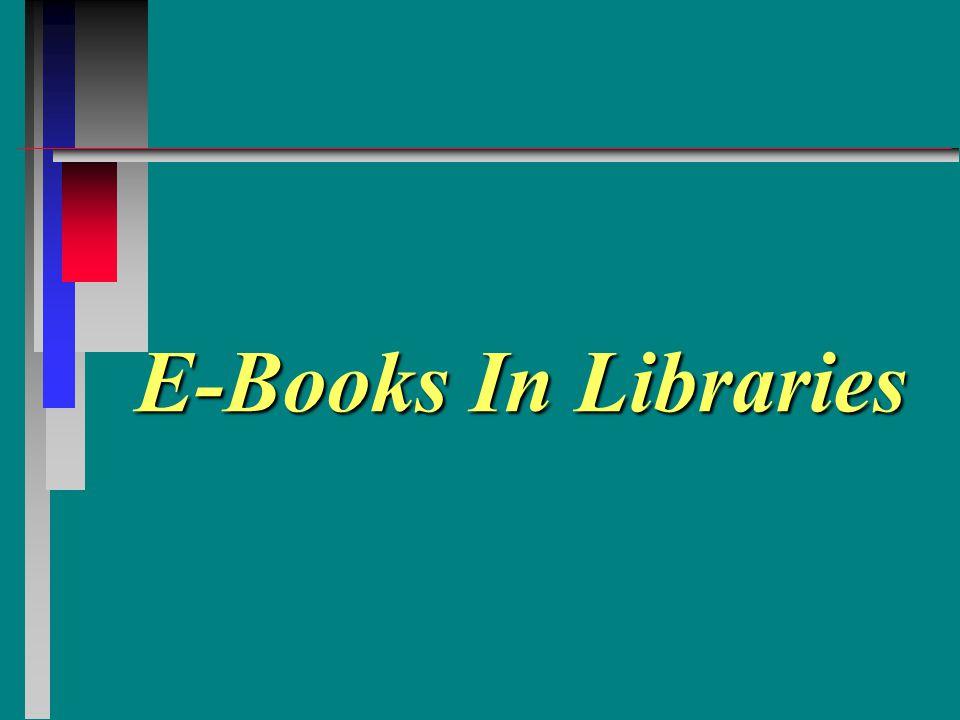 E-Books In Libraries