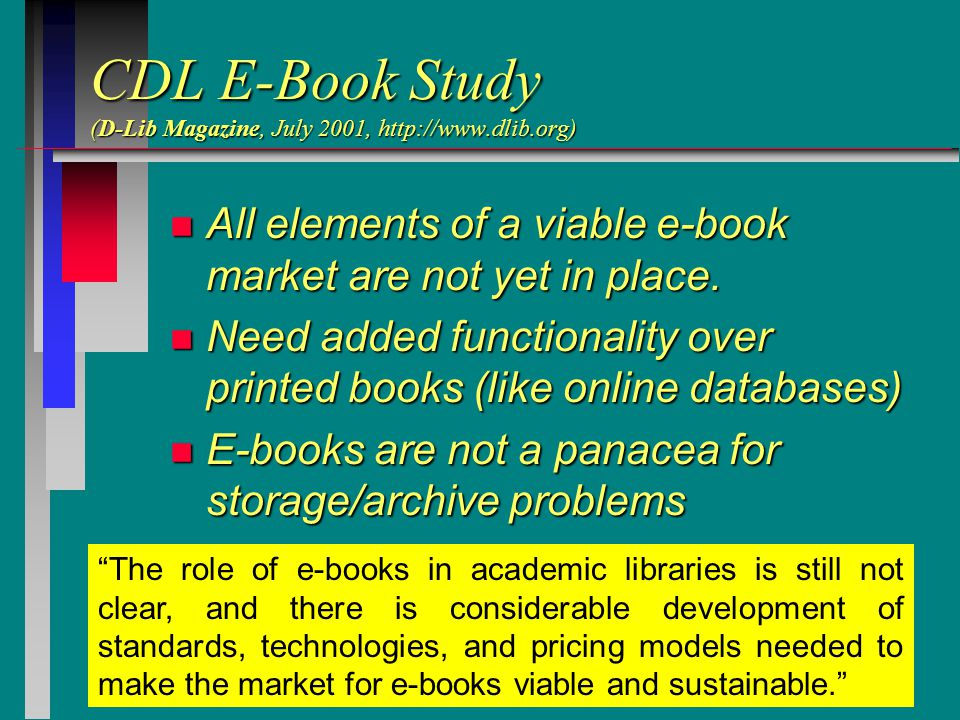 CDL E-Book Study (D-Lib Magazine, July 2001, http://www.dlib.org) n All elements of a viable e-book market are not yet in place.