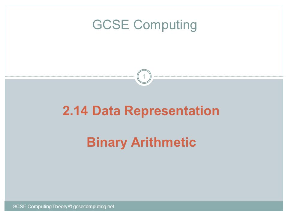 GCSE Computing Theory © gcsecomputing.net 1 GCSE Computing 2.14 Data Representation Binary Arithmetic