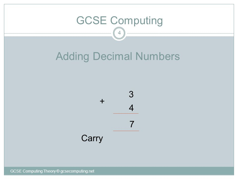 Adding Decimal Numbers 4 3 4 7 Carry + GCSE Computing GCSE Computing Theory © gcsecomputing.net