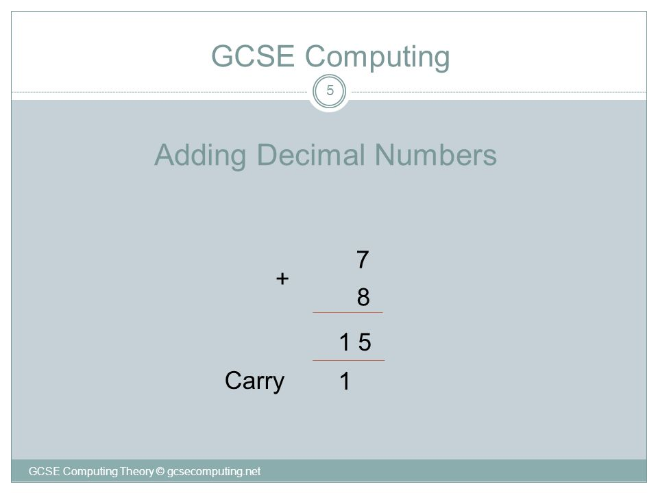 Adding Decimal Numbers 5 7 8 5 1 Carry + 1 GCSE Computing GCSE Computing Theory © gcsecomputing.net