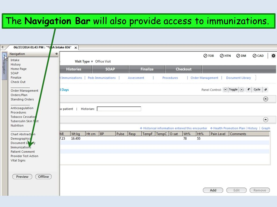 Other places will have immunizations links as well, such as this spot on the Intake Tab.