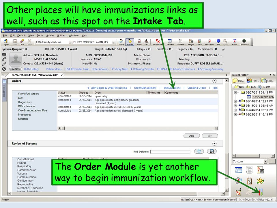 You can also access vaccinations by clicking the Immunizations bullet at the top of the Order Management template.