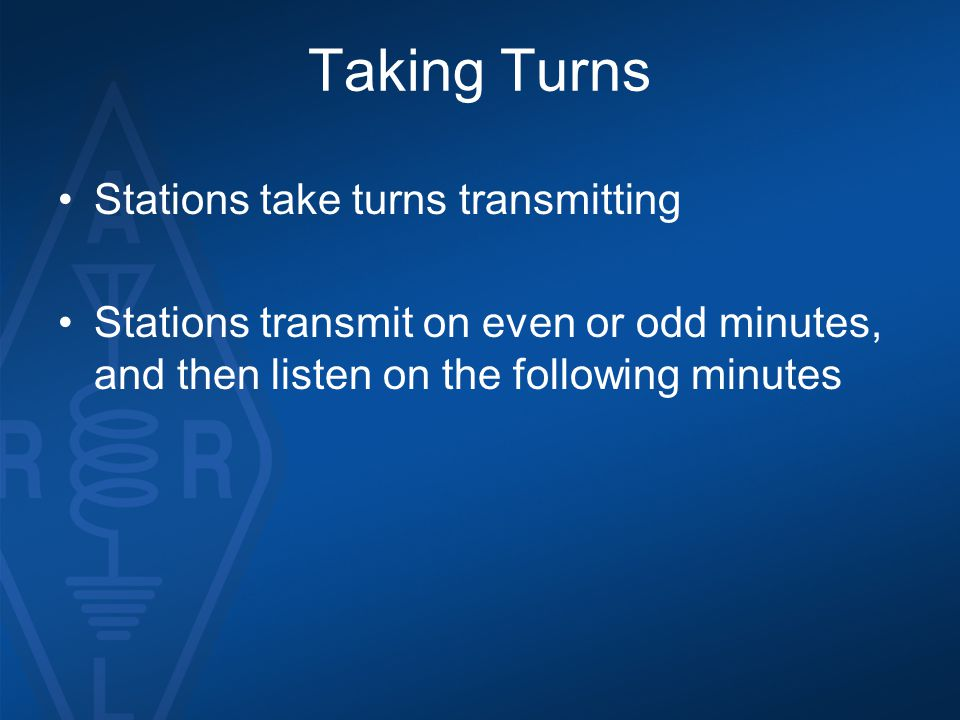 Taking Turns Stations take turns transmitting Stations transmit on even or odd minutes, and then listen on the following minutes