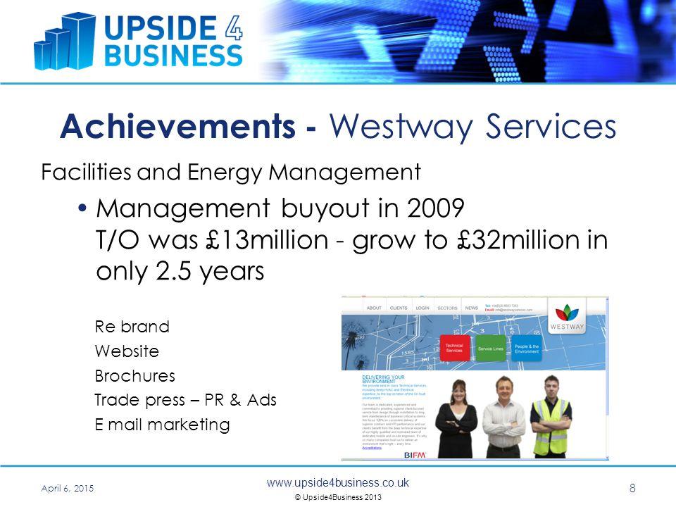 www.upside4business.co.uk © Upside4Business 2013 Achievements – DSG Quantity Surveyors Quantity Surveyors Launched their 5D BIM service.