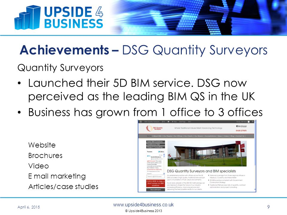 www.upside4business.co.uk © Upside4Business 2013 Achievements – Q Associates Computer Systems Integrators From £15m to £45m over 5 years Gained top 3 UK distributor for Sun MicroSystems Re Brand Website Brochures Technical bulletins Events and conferences Articles/case studies April 6, 2015 10