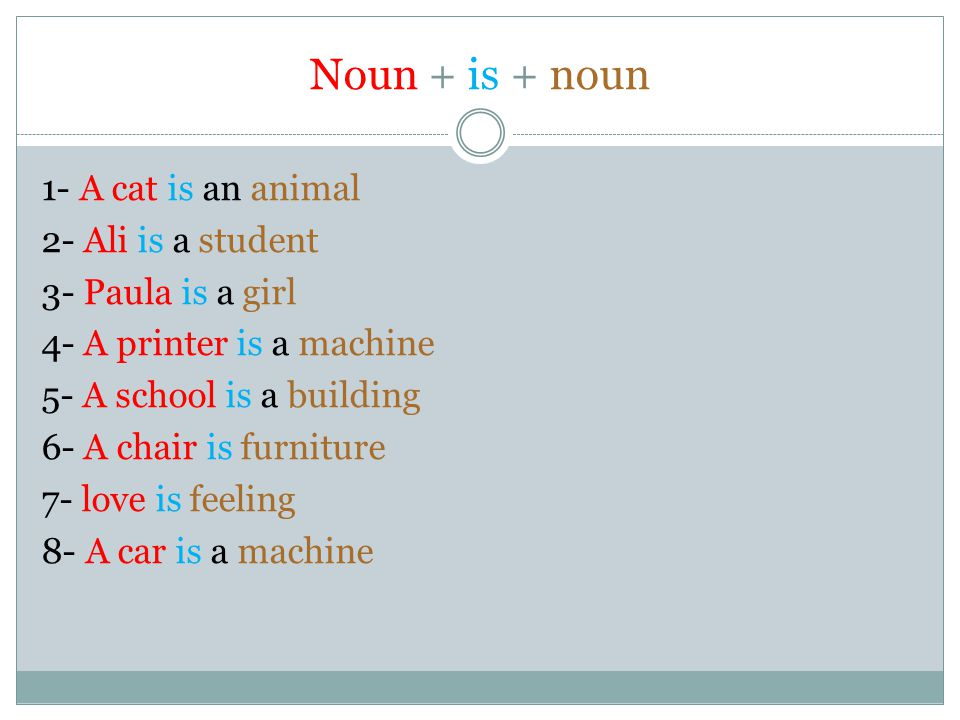 Noun + is + noun 1- A cat is an animal 2- Ali is a student 3- Paula is a girl 4- A printer is a machine 5- A school is a building 6- A chair is furnit