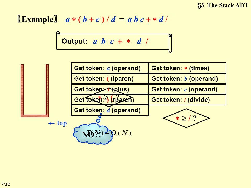 §3 The Stack ADT  Infix to Postfix Conversion 〖 Example 〗 a  b  c  d = .
