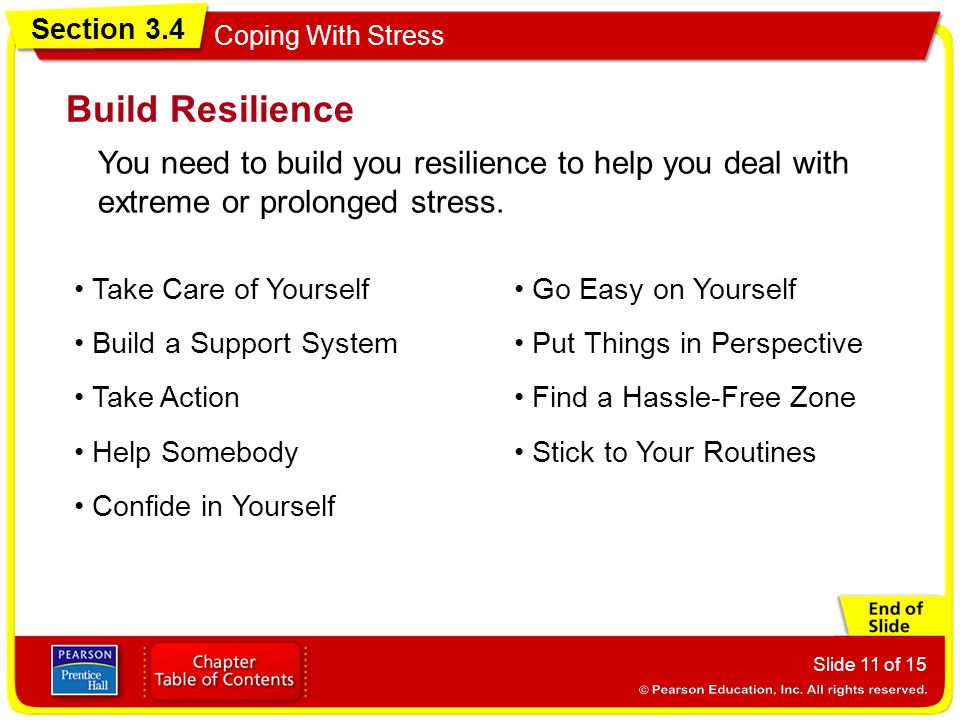 Section 3.4 Coping With Stress Slide 11 of 15 Build Resilience You need to build you resilience to help you deal with extreme or prolonged stress.