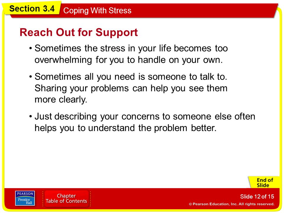 Section 3.4 Coping With Stress Slide 12 of 15 Reach Out for Support Sometimes the stress in your life becomes too overwhelming for you to handle on your own.