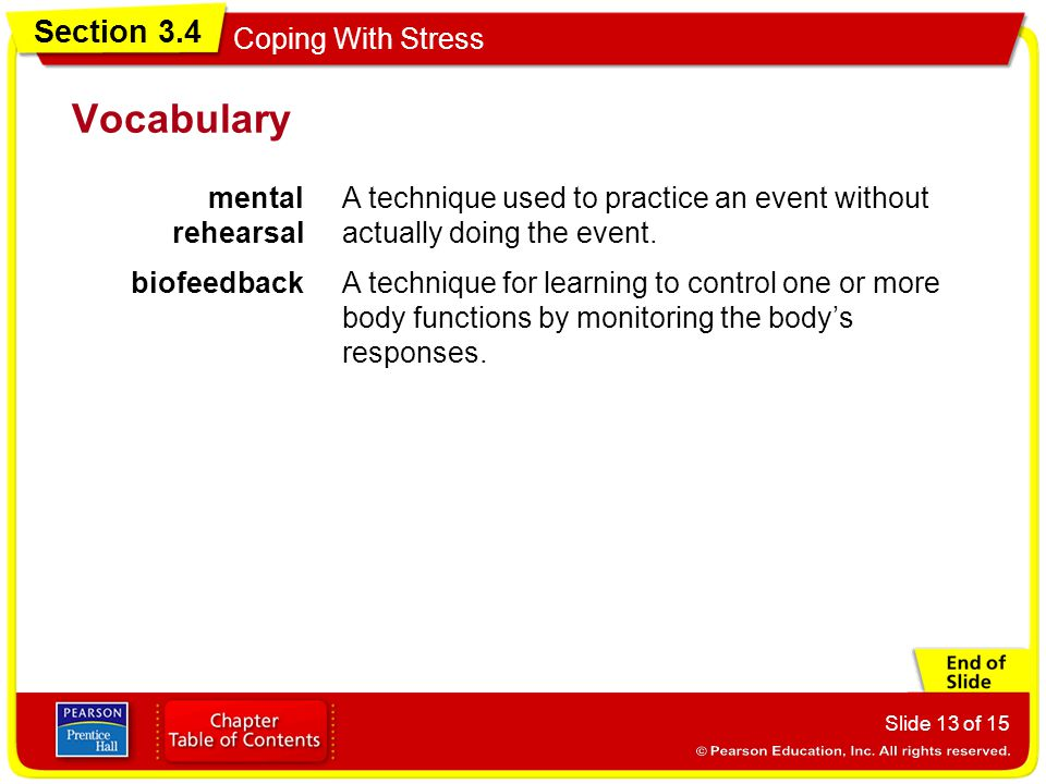Section 3.4 Coping With Stress Slide 13 of 15 Vocabulary mental rehearsal A technique used to practice an event without actually doing the event. biof