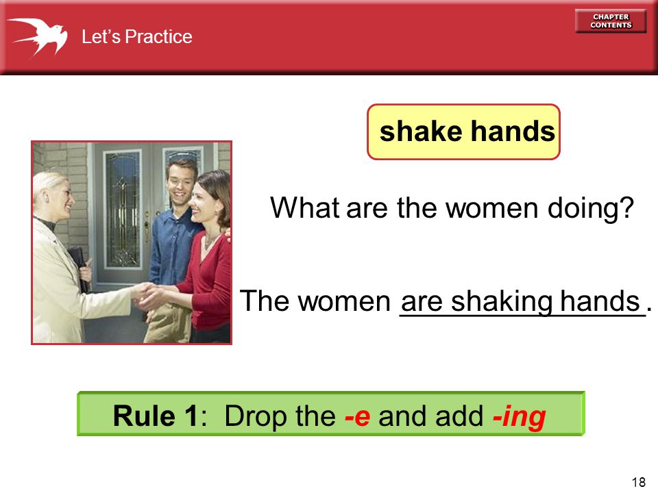 18 The women _______________.are shaking hands What are the women doing.