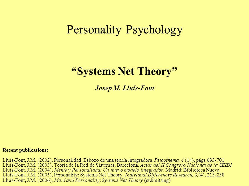 Personality Psychology Systems Net Theory Josep M.