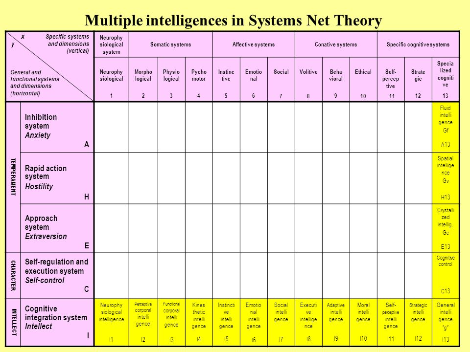 Multiple intelligences in Systems Net Theory x Specific systems y and dimensions (vertical) General and functional systems and dimensions (horizontal) Neurophy siological system Somatic systemsAffective systemsConative systemsSpecific cognitive systems Neurophy siological 1 Morpho logical 2 Physio logical 3 Pycho motor 4 Instinc tive 5 Emotio nal 6 Social 7 Volitive 8 Beha vioral 9 Ethical 10 Self- percep tive 11 Strate gic 12 Specia lized cogniti ve 13 TEMPERAMENT Inhibition system Anxiety A Fluid intelli gence Gf A13 Rapid action system Hostility H Spatial intellige nce Gv H13 Approach system Extraversion E Crystalli zed intellig.