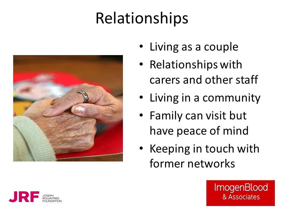 Relationships Living as a couple Relationships with carers and other staff Living in a community Family can visit but have peace of mind Keeping in to