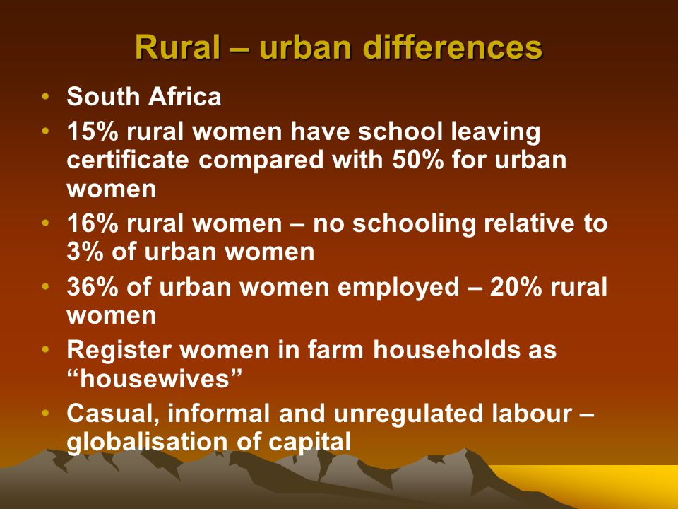 Rural women in sub- Saharan Africa Do 80% of food storage & transportation work; 80% of food processing work; 60% of work to bring food to the market Care of children, the sick & elderly Domestic chores Rural women who are HIV+ Fetching water and firewood Female headed households – 31% 17% Latin America & Caribbean 14% in Asia