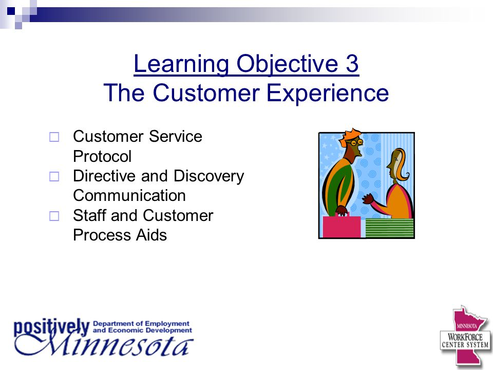 Learning Objective 3 The Customer Experience  Customer Service Protocol  Directive and Discovery Communication  Staff and Customer Process Aids