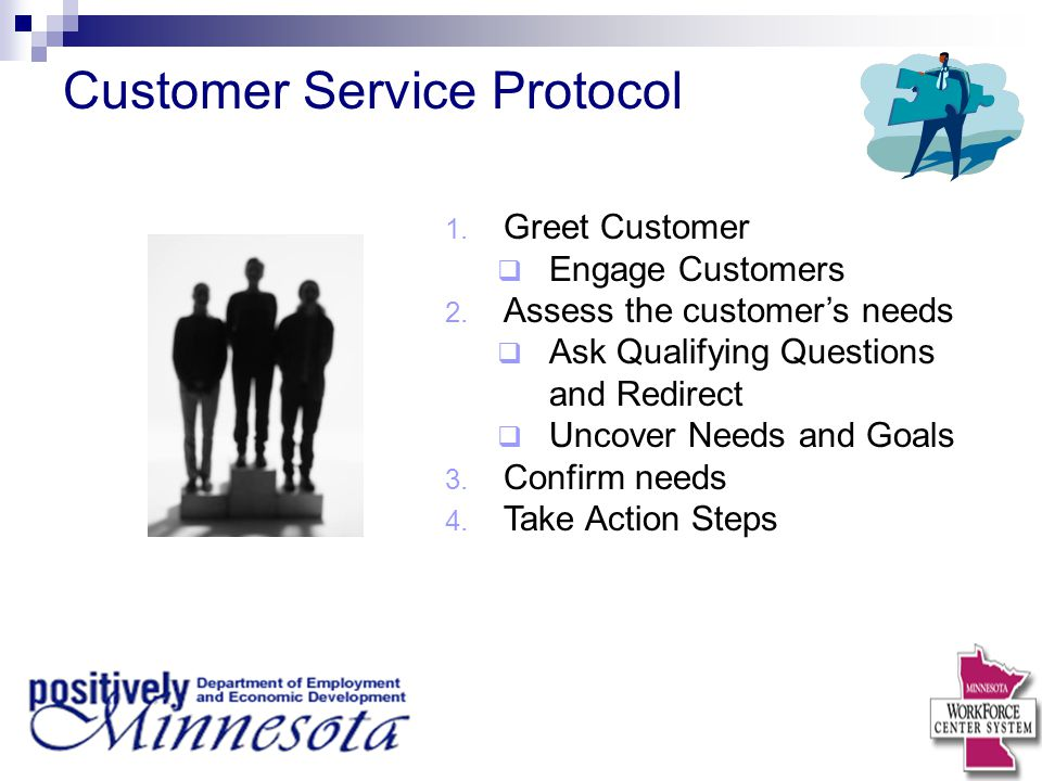 Customer Service Protocol 1. Greet Customer  Engage Customers 2. Assess the customer's needs  Ask Qualifying Questions and Redirect  Uncover Needs