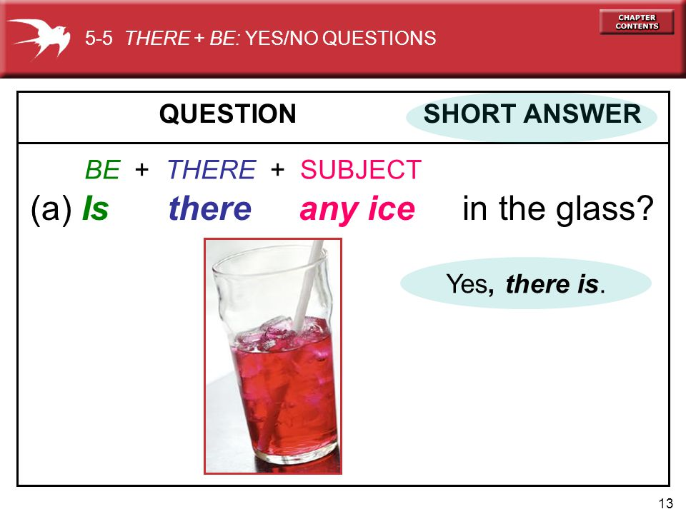 13 QUESTION SHORT ANSWER (a) Is there any ice in the glass? BE + THERE + SUBJECT 5-5 THERE + BE: YES/NO QUESTIONS Yes, there is.