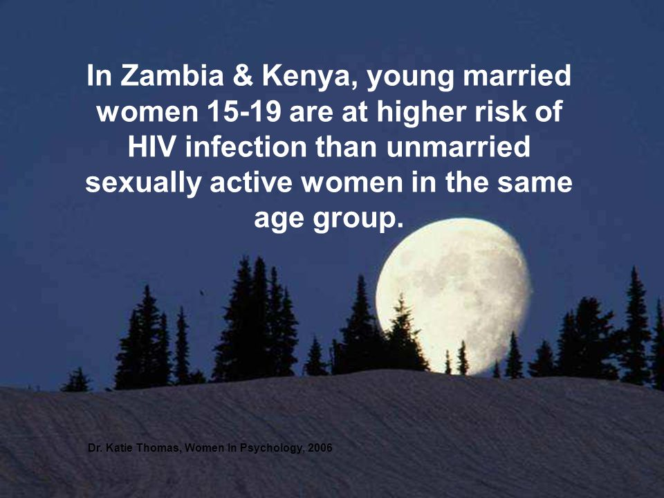 In Zambia & Kenya, young married women are at higher risk of HIV infection than unmarried sexually active women in the same age group.