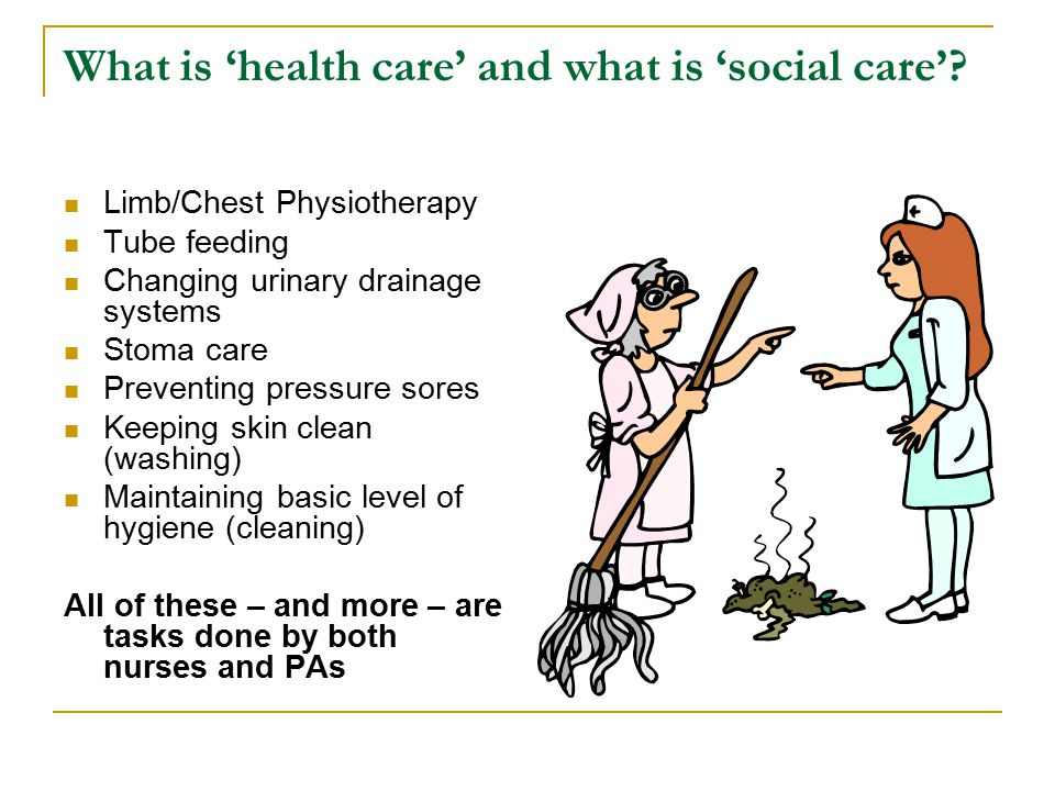 What is 'health care' and what is 'social care'.