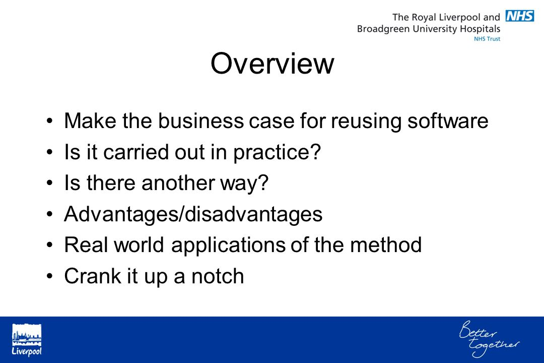 Overview Make the business case for reusing software Is it carried out in practice.
