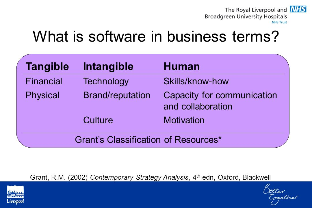 What is software in business terms? TangibleIntangibleHuman FinancialTechnologySkills/know-how PhysicalBrand/reputationCapacity for communication and