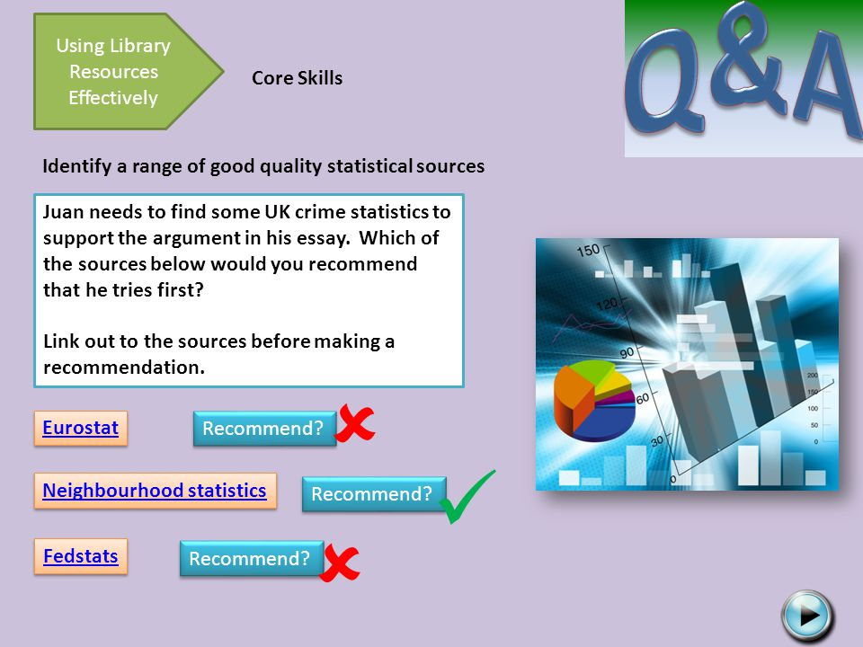 Using Library Resources Effectively Core Skills Identify a range of good quality statistical sources Juan needs to find some UK crime statistics to support the argument in his essay.