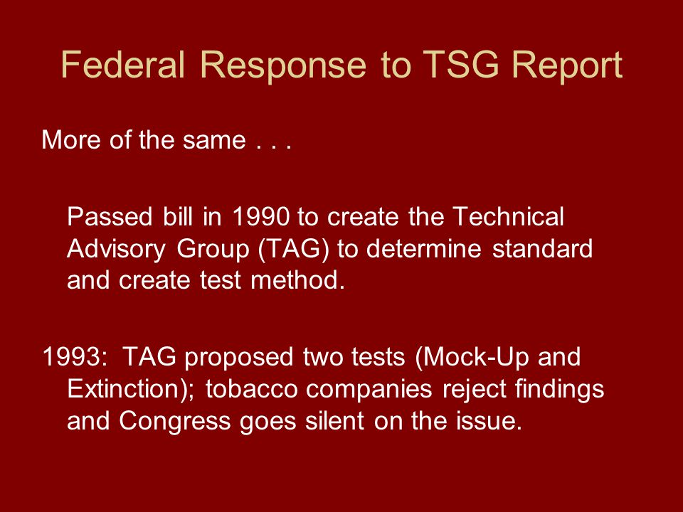 Federal Response to TSG Report More of the same...