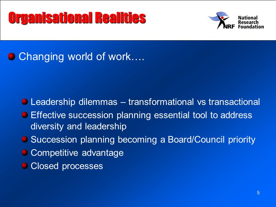 5 Organisational Realities Changing world of work….