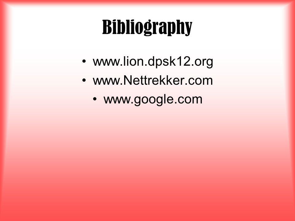 Bibliography www.lion.dpsk12.org www.Nettrekker.com www.google.com