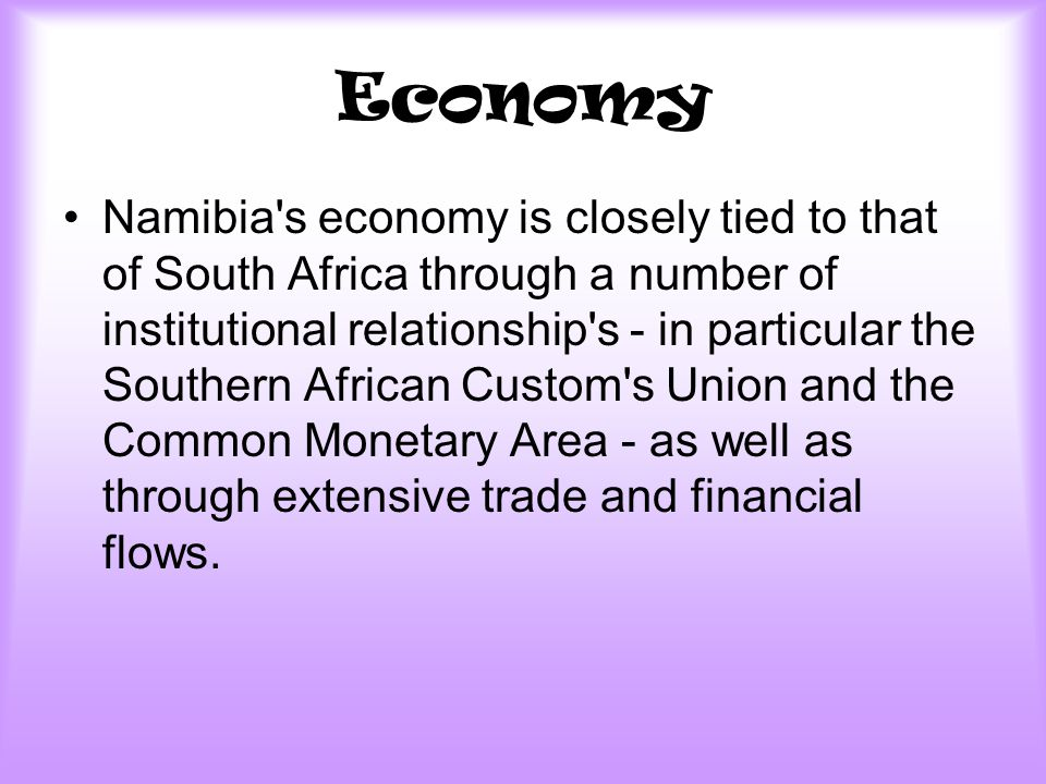 Economy Namibia s economy is closely tied to that of South Africa through a number of institutional relationship s - in particular the Southern African Custom s Union and the Common Monetary Area - as well as through extensive trade and financial flows.